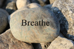 Rock that has the word Breathe on it